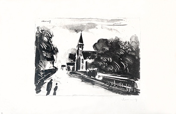 Original signed lithograph de  : Marine, L'Eglise, 2nd state
