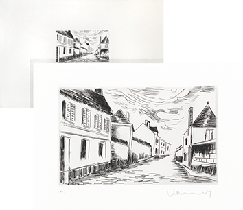 Original signed etching de Vlaminck Maurice : La grand' Rue