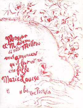 Original lithograph de Bonnard Pierre : Birth announcement of Marie Louise Mellerio