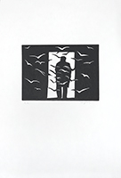 Original signed linocut de  : Lassitude Nord