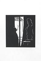 Signierte Originallinolschnitt de  : Fenêtre sur cour