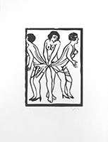 Original signed linocut de  : Marx Sisters