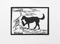 Original signed linocut de  : Ficelle