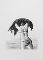 Signierte Originallithographie de  : Femme Corbeau