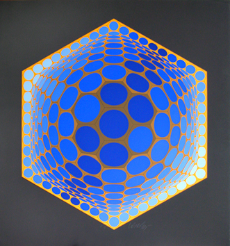 Original signed screenprint de Vasarely Victor : Unknown title XVII