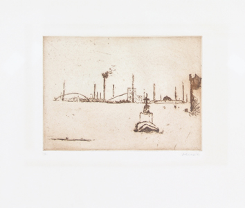 Original signed etching de Music Zoran : Porto di Marghera
