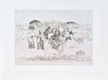 Original signed etching de Music Zoran : Motif dalmate