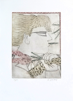 Gravure originale signée de  : Profil d'homme I