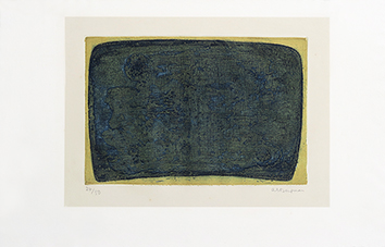 Gravure originale signée de  : Petit tombeau bleu (G21 - 1958)