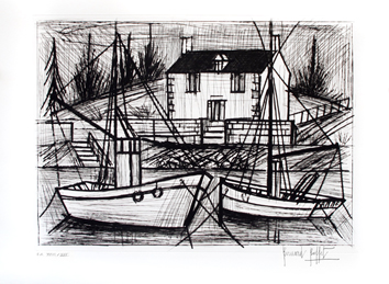 Original signed etching de  : Breton harbor
