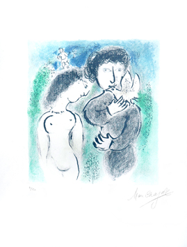 Lithograph signed de  : Couples green and blue