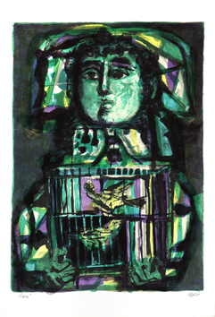 Original signed lithograph de  : The child with the cage
