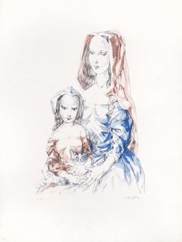 Foujita Léonard : Lithographie originale signée : Femme et enfant