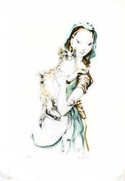 Foujita Léonard : Original signed lithograph : Young lady with cat