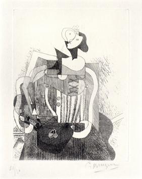 Braque Georges : Gravure eau-forte sign�e : Femme assise