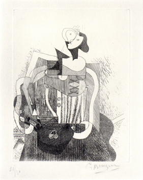 Original signed etching de  : Sitted woman