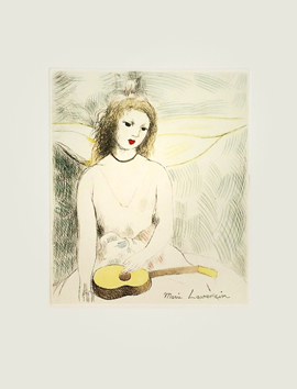 Original etching de  : Jeune fille à la guitare, second state
