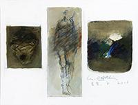 Signierte originale Öl-Malerei de  : Komposition ohne Titel XVI