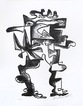 Lithographie originale signée de  : Le regard multiple