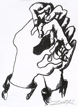 Lithographie originale signée de  : Le combat