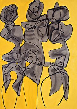 Oeuvre unique signée de  : Composition abstraite IV