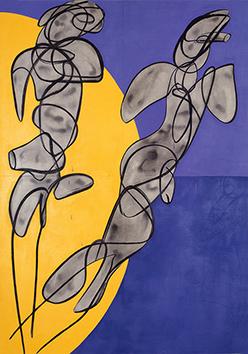 Oeuvre unique signée de  : Composition abstraite V