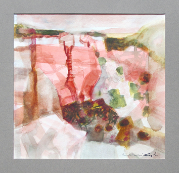 Signierte Original-Aquarell de  : Navaho moutain II