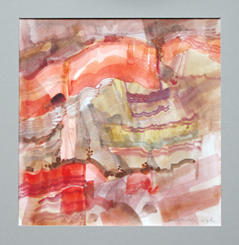 Signierte Original-Aquarell de  : Navaho moutain III