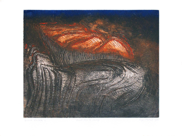 Original signed etching de  : At night on the cliff