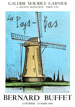 Affiche lithographie de  : Moulin hollandais