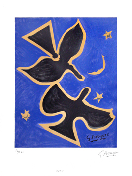 Signed lithograph de  : Two birds on blue bottom