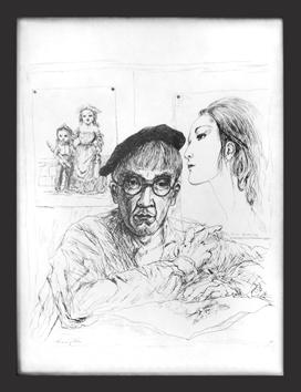 Foujita Léonard : Original signed lithograph : Self-portrait in the studio