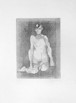 Original signed etching de  : Naked with knees