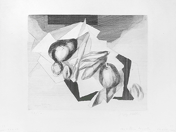 Original signed etching de  : Still life in walnuts