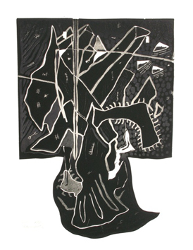 Original signed linocut de Scanreigh Jean-Marc : Son sujet captif