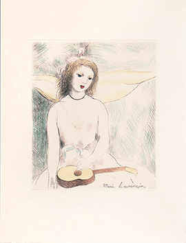 Original etching de  : Jeune fille à la guitare