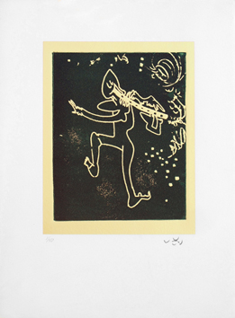 Signed etching aquatint de Matta Roberto : Flute