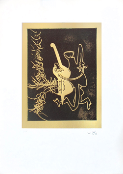 Signed etching aquatint de Matta Roberto : Contropbasse