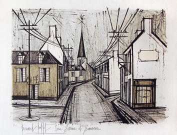 Original signed lithograph de Buffet Bernard : Rue de Village