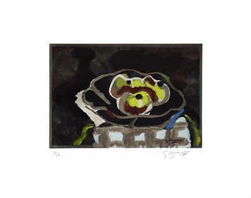 Signed lithograph de  : Coupe de fruits