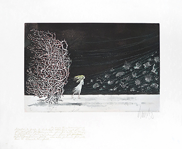 Original signed aquatint de  : Autour de la reine des neiges VIII