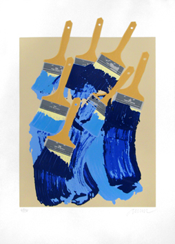 Signed screenprint de Arman : Brushes, blue and yellow