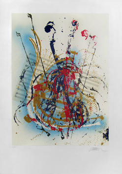 Signed screenprint de  : Unknown title, violin
