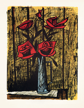 Original signed lithograph de  : Roses bunch