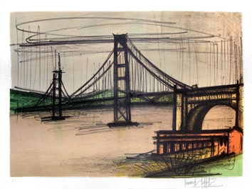 Original signed lithograph de  : San Francisco Bridge