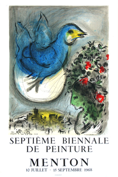 Lithograph poster de  : The blue bird