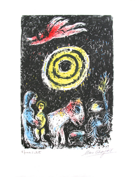 Signed lithograph de  : Sun of winter
