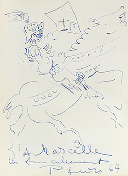 Original signed drawing de Pignon Edouard : Mascarade