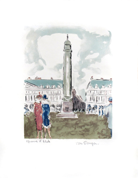 Signed lithograph de  : Place Vendôme