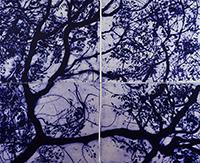 Signierte Carborundum-Radierung de  : Branches d'olivier